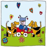 kaart jongen en hondjes