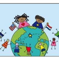 kaart 2 kindjes wereldbol